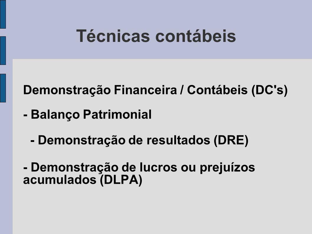 Técnicas contábeis Demonstração Financeira / Contábeis (DC's) - Balanço Patrimonial - Demonstração de resultados (DRE) - Demonstração de lucros ou pre
