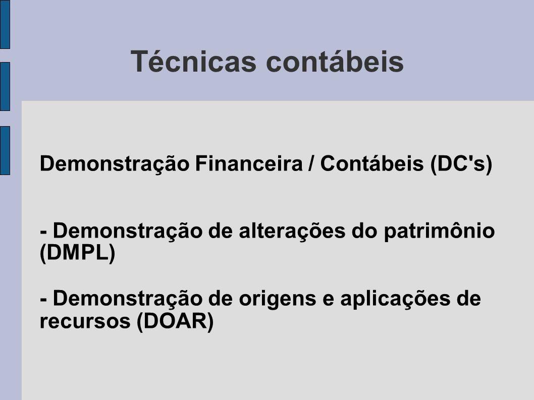Técnicas contábeis Demonstração Financeira / Contábeis (DC's) - Demonstração de alterações do patrimônio (DMPL) - Demonstração de origens e aplicações