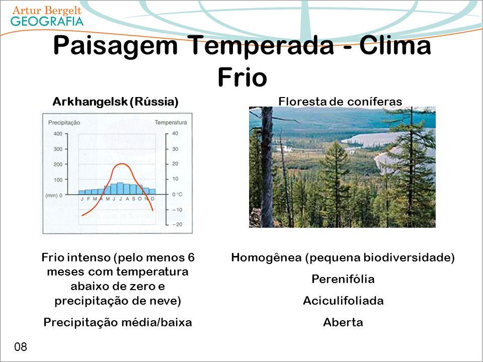 Paisagem Temperada - Clima Frio Arkhangelsk (Rússia) Frio intenso (pelo menos 6 meses com temperatura abaixo de zero e precipitação de neve) Precipita