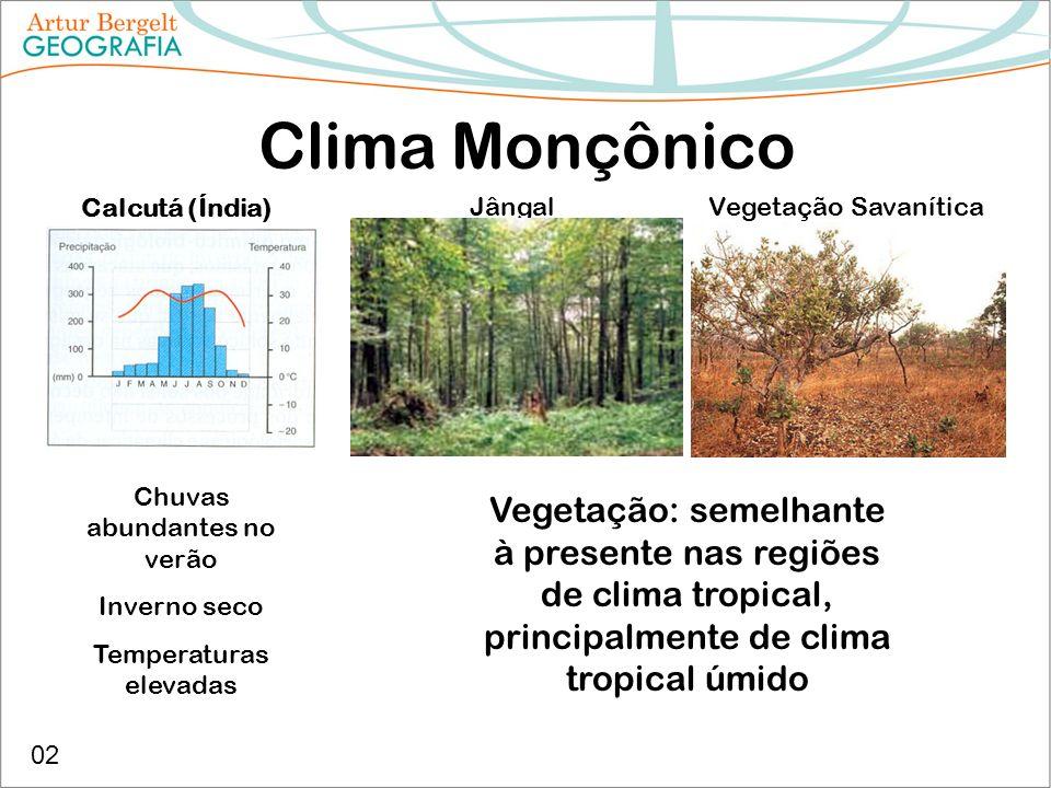 Clima Monçônico Calcutá (Índia) Chuvas abundantes no verão Inverno seco Temperaturas elevadas Vegetação: semelhante à presente nas regiões de clima tr