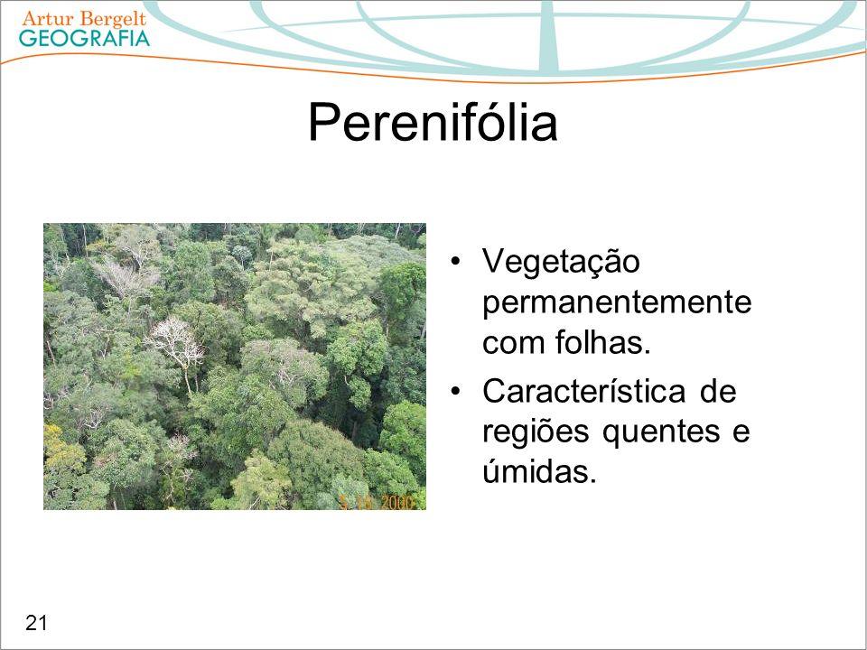 Perenifólia Vegetação permanentemente com folhas. Característica de regiões quentes e úmidas. 21