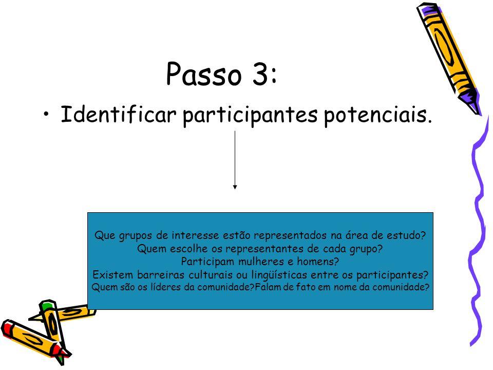 Passo 3: Identificar participantes potenciais. Que grupos de interesse estão representados na área de estudo? Quem escolhe os representantes de cada g