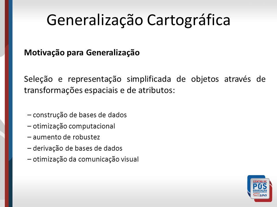 Motivação para Generalização Seleção e representação simplificada de objetos através de transformações espaciais e de atributos: – construção de bases
