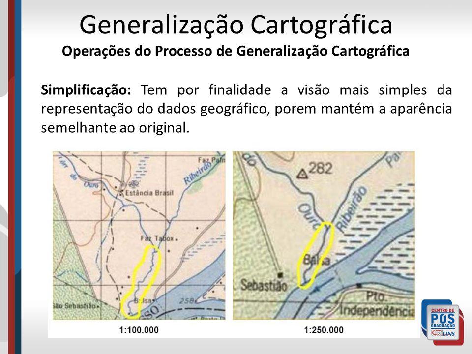 Simplificação: Tem por finalidade a visão mais simples da representação do dados geográfico, porem mantém a aparência semelhante ao original. Generali