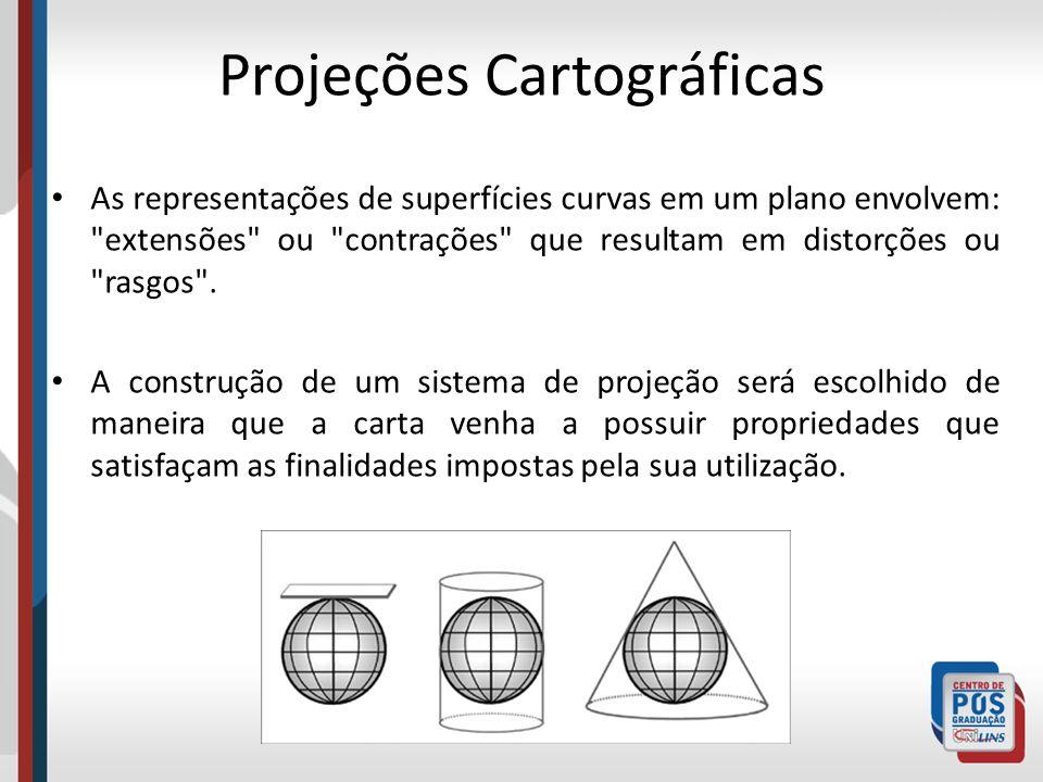 As representações de superfícies curvas em um plano envolvem: