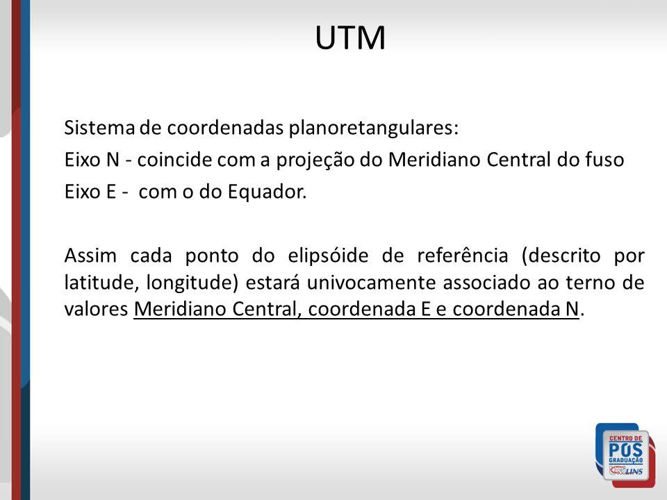 Sistema de coordenadas planoretangulares: Eixo N - coincide com a projeção do Meridiano Central do fuso Eixo E - com o do Equador. Assim cada ponto do