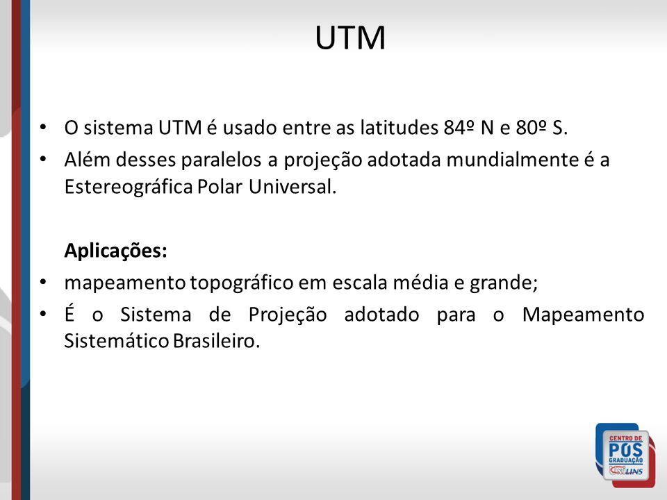 O sistema UTM é usado entre as latitudes 84º N e 80º S. Além desses paralelos a projeção adotada mundialmente é a Estereográfica Polar Universal. Apli