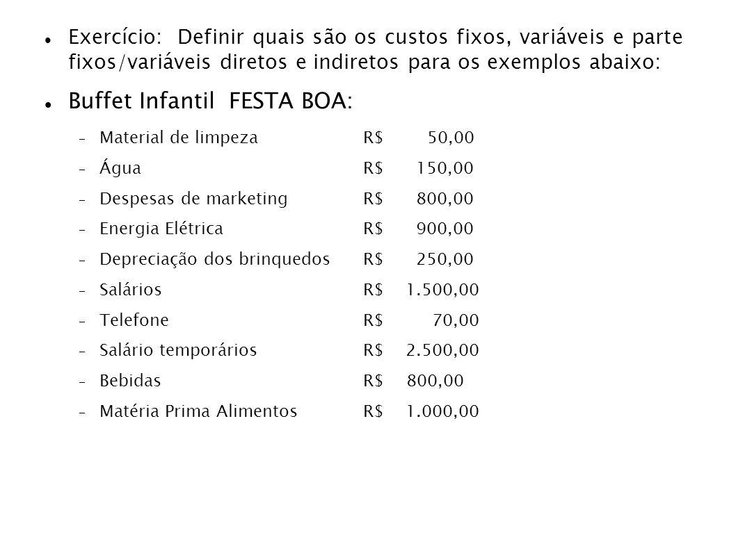 Exercício: Definir quais são os custos fixos, variáveis e parte fixos/variáveis diretos e indiretos para os exemplos abaixo: Buffet Infantil FESTA BOA