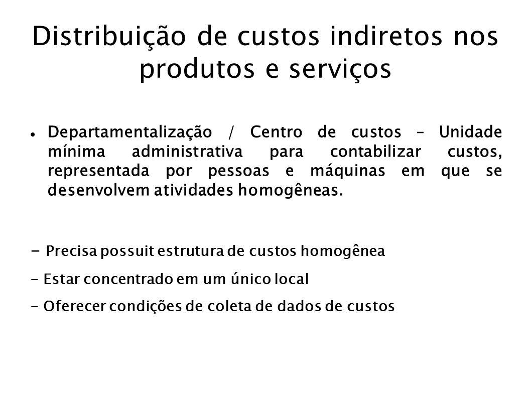 Distribuição de custos indiretos nos produtos e serviços Departamentalização / Centro de custos – Unidade mínima administrativa para contabilizar cust