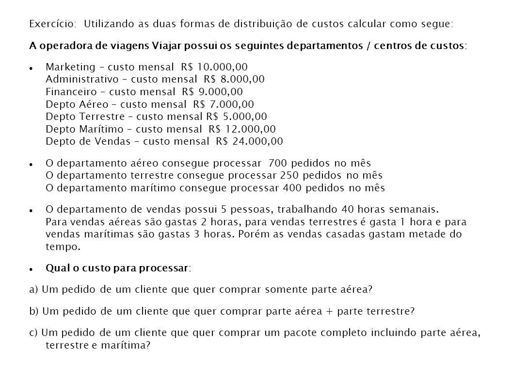 Exercício: Utilizando as duas formas de distribuição de custos calcular como segue: A operadora de viagens Viajar possui os seguintes departamentos /