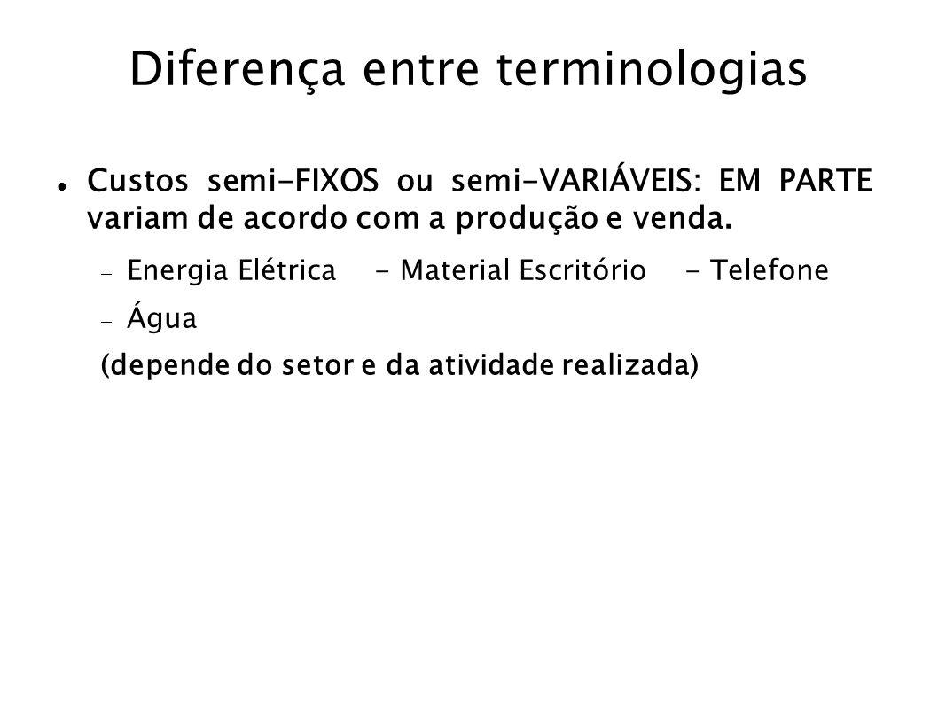 Diferença entre terminologias Custos semi-FIXOS ou semi-VARIÁVEIS: EM PARTE variam de acordo com a produção e venda. Energia Elétrica - Material Escri
