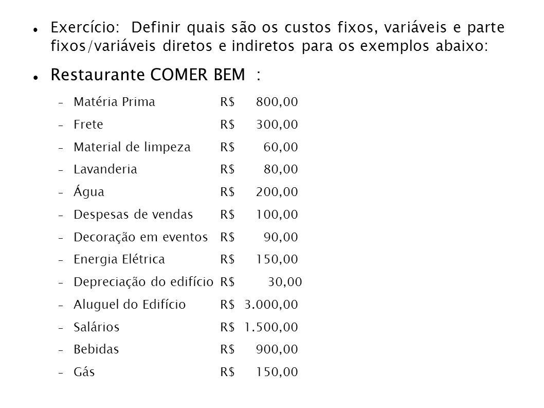 Exercício: Definir quais são os custos fixos, variáveis e parte fixos/variáveis diretos e indiretos para os exemplos abaixo: Restaurante COMER BEM : M