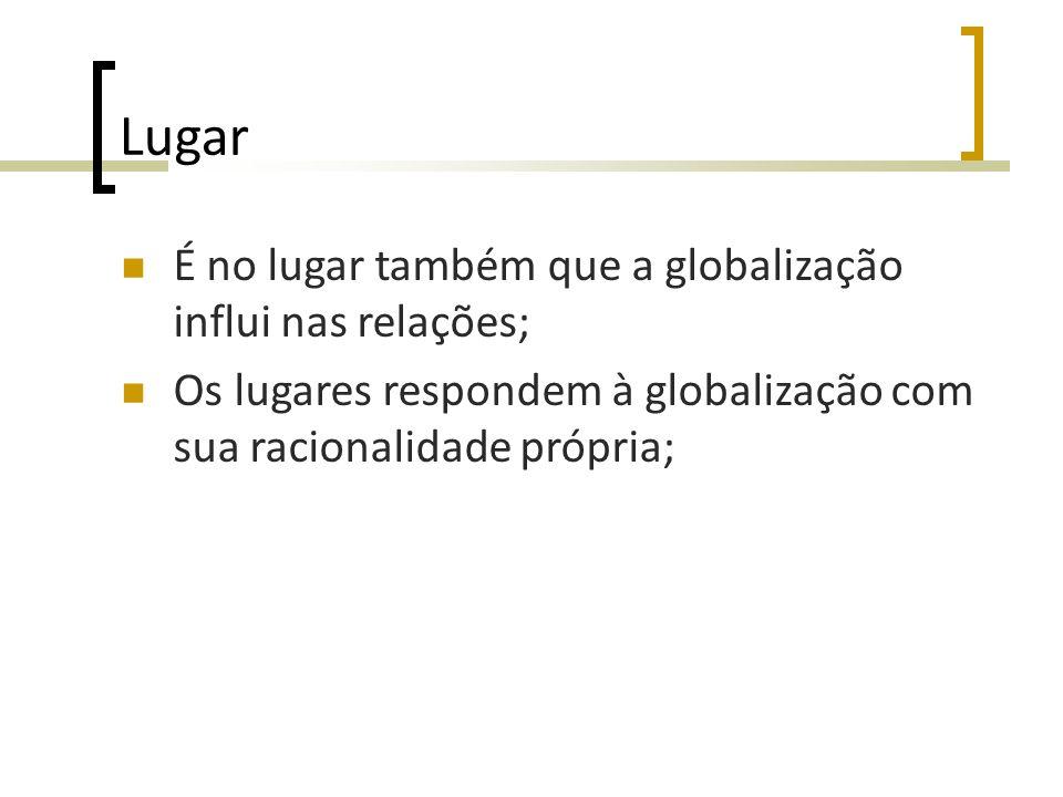 Lugar É no lugar também que a globalização influi nas relações; Os lugares respondem à globalização com sua racionalidade própria;