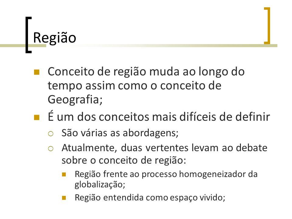 Região Conceito de região muda ao longo do tempo assim como o conceito de Geografia; É um dos conceitos mais difíceis de definir São várias as abordag