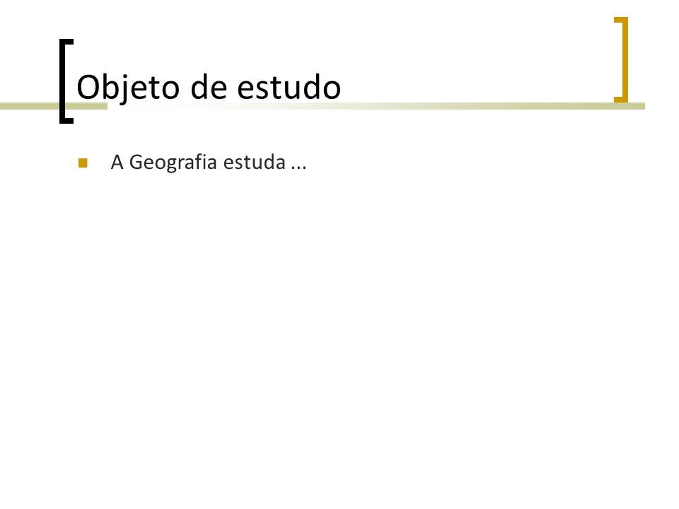 Objeto de estudo A Geografia estuda...