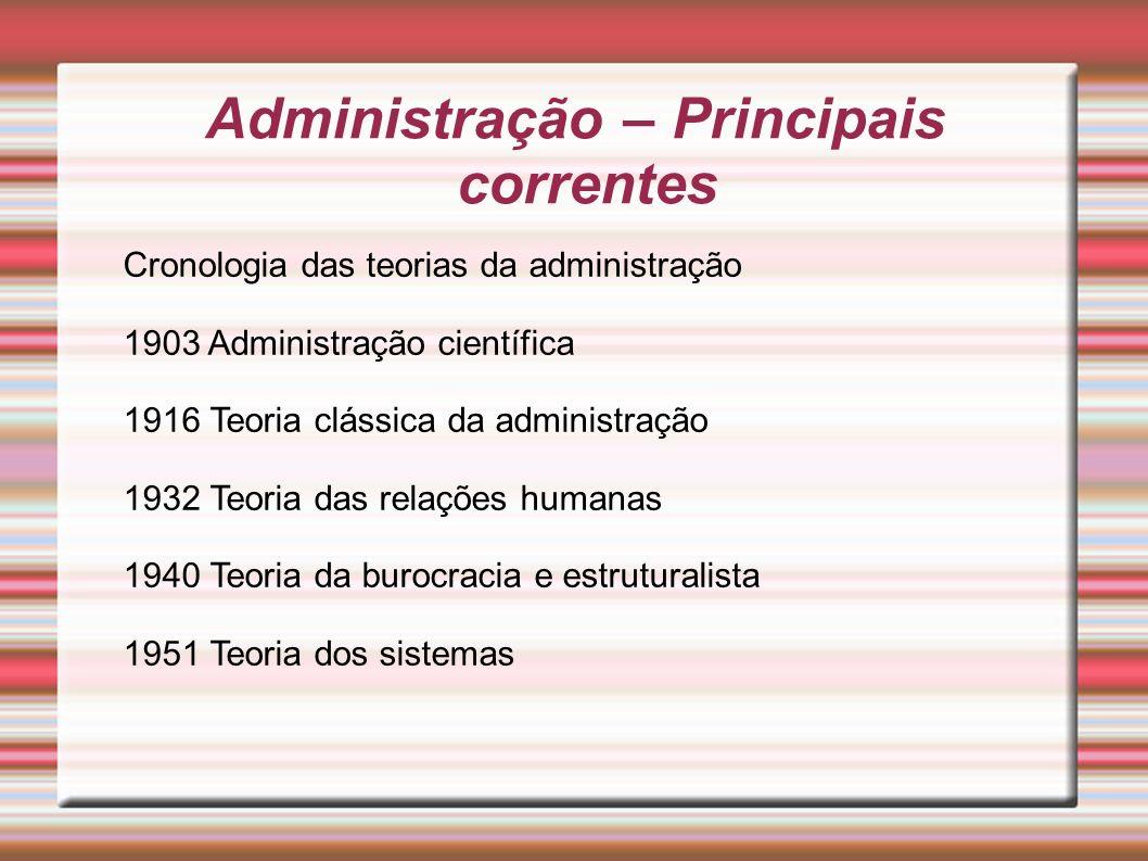 Administração – Principais correntes Cronologia das teorias da administração 1903 Administração científica 1916 Teoria clássica da administração 1932