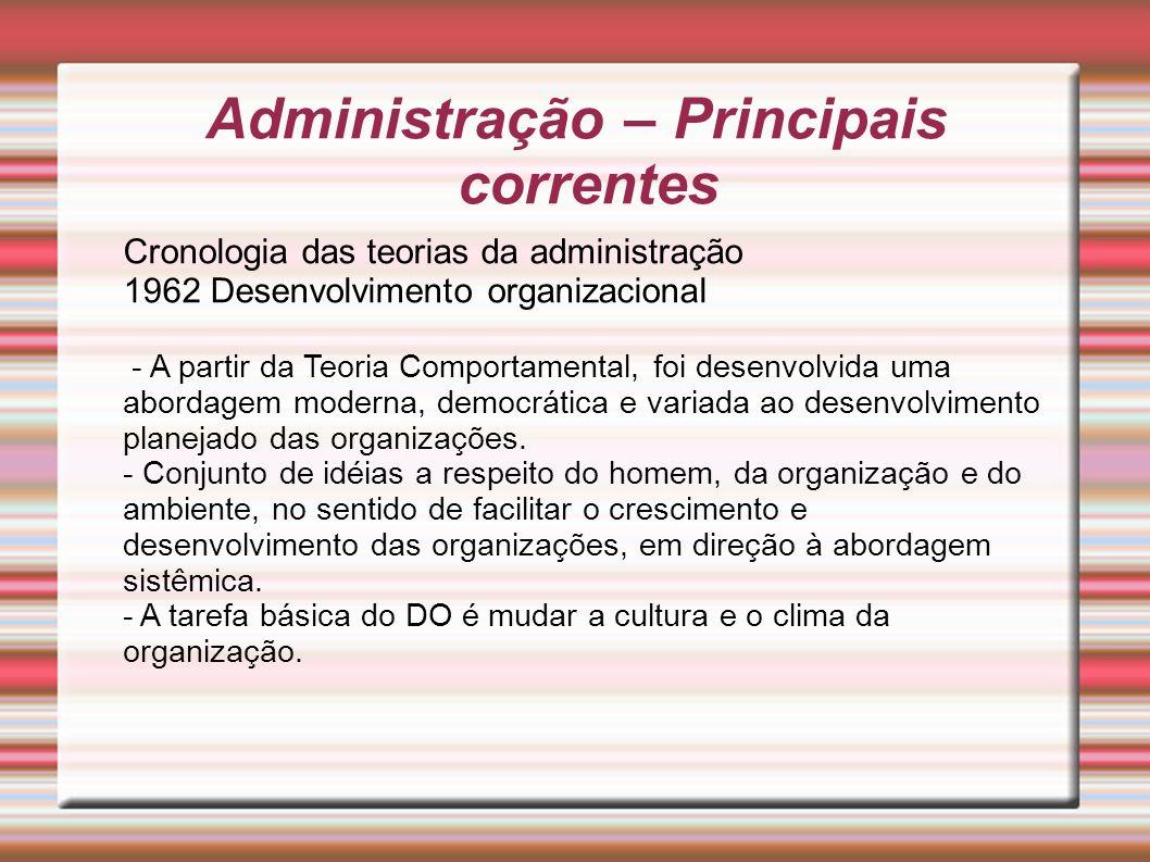 Administração – Principais correntes Cronologia das teorias da administração 1962 Desenvolvimento organizacional - A partir da Teoria Comportamental,