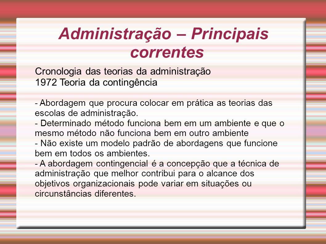 Administração – Principais correntes Cronologia das teorias da administração 1972 Teoria da contingência - Abordagem que procura colocar em prática as