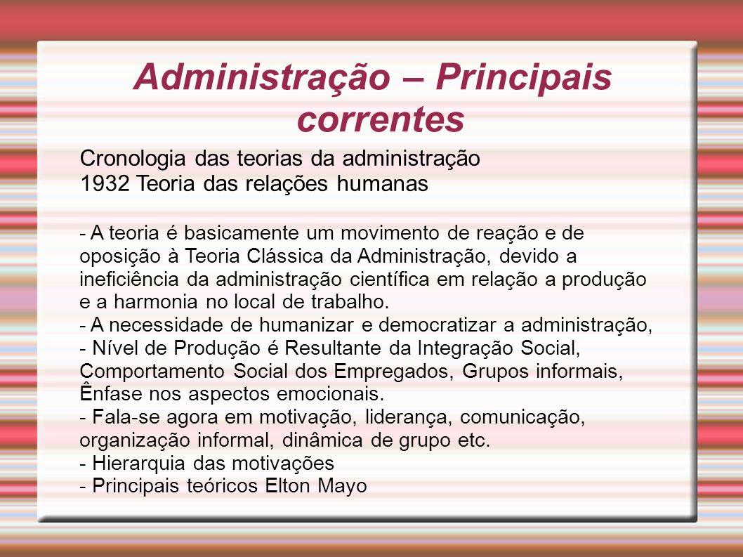 Administração – Principais correntes Cronologia das teorias da administração 1932 Teoria das relações humanas - A teoria é basicamente um movimento de