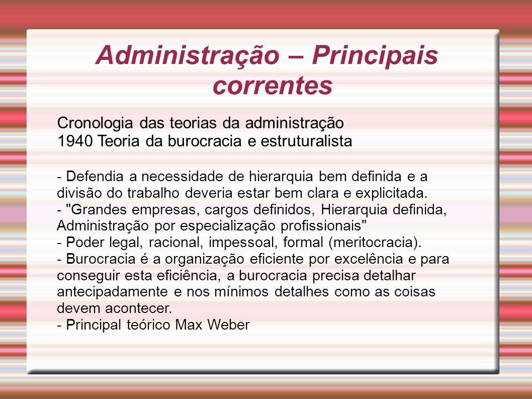 Administração – Principais correntes Cronologia das teorias da administração 1940 Teoria da burocracia e estruturalista - Defendia a necessidade de hi