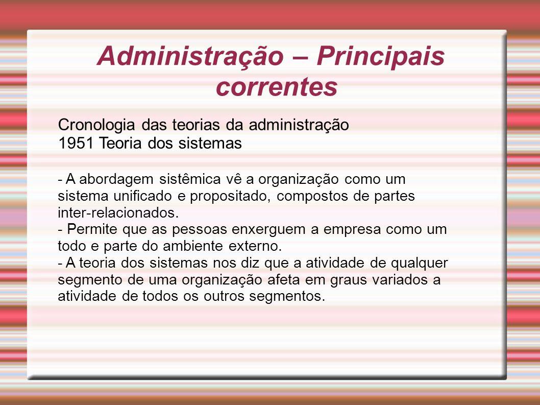 Administração – Principais correntes Cronologia das teorias da administração 1951 Teoria dos sistemas - A abordagem sistêmica vê a organização como um
