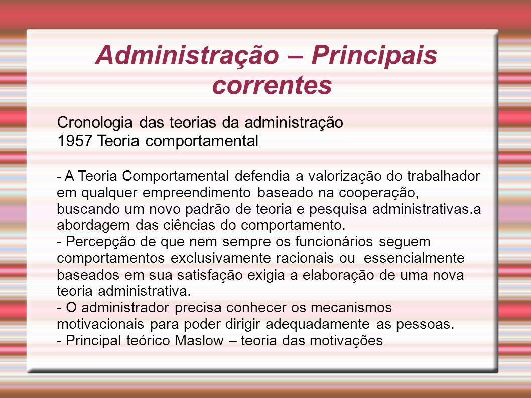 Administração – Principais correntes Cronologia das teorias da administração 1957 Teoria comportamental - A Teoria Comportamental defendia a valorizaç