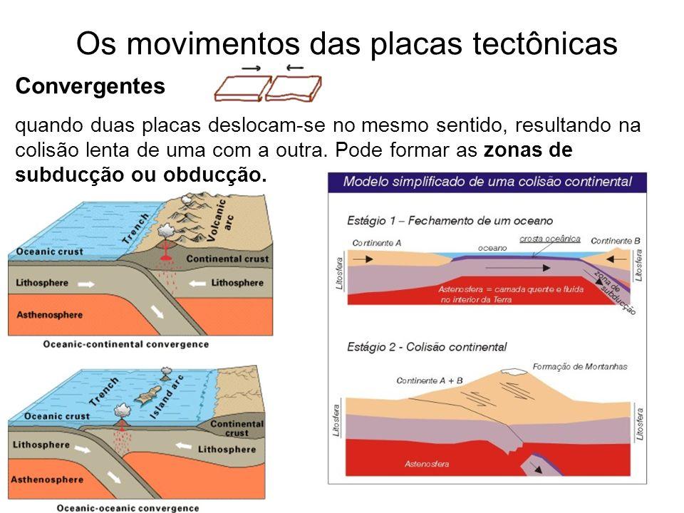 Os movimentos das placas tectônicas Convergentes quando duas placas deslocam-se no mesmo sentido, resultando na colisão lenta de uma com a outra. Pode