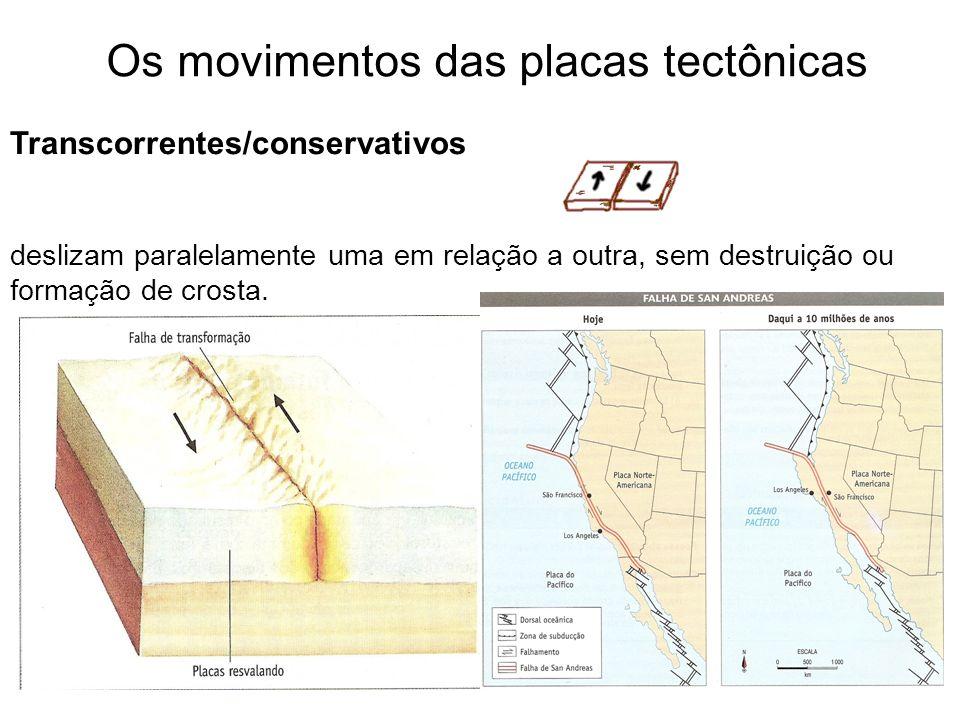 Os movimentos das placas tectônicas Transcorrentes/conservativos deslizam paralelamente uma em relação a outra, sem destruição ou formação de crosta.