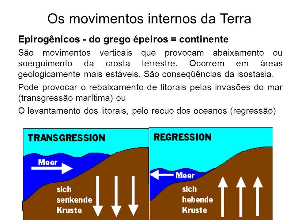 Os movimentos internos da Terra Epirogênicos - do grego épeiros = continente São movimentos verticais que provocam abaixamento ou soerguimento da cros