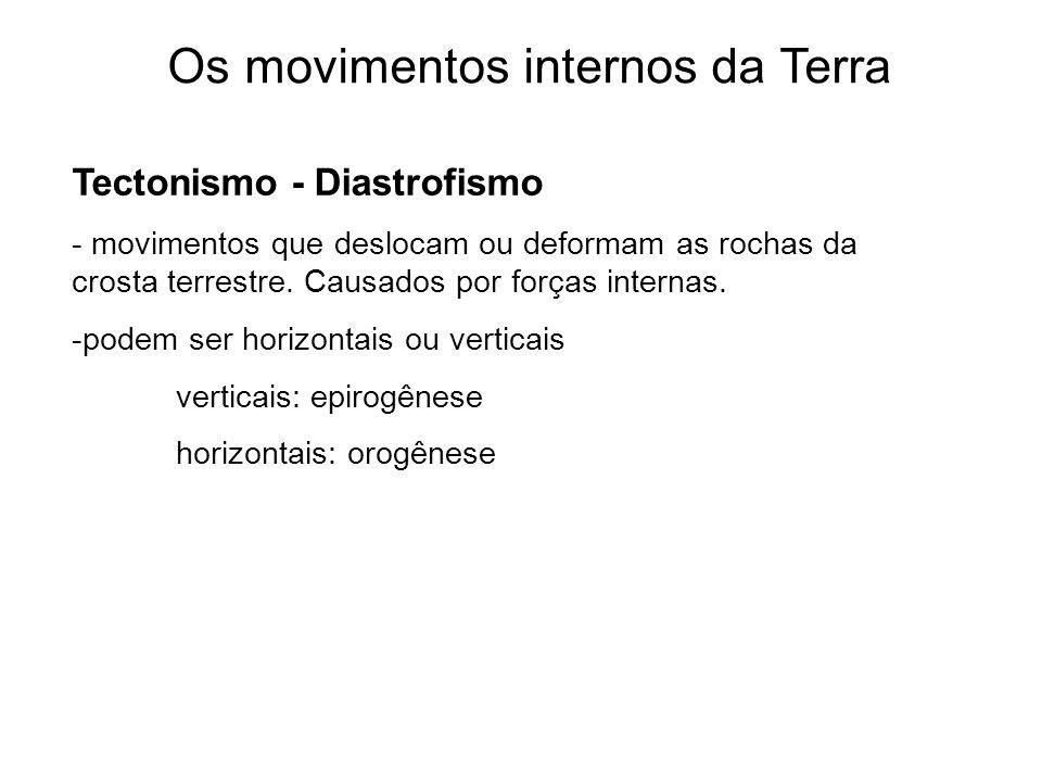 Os movimentos internos da Terra Tectonismo - Diastrofismo - movimentos que deslocam ou deformam as rochas da crosta terrestre. Causados por forças int