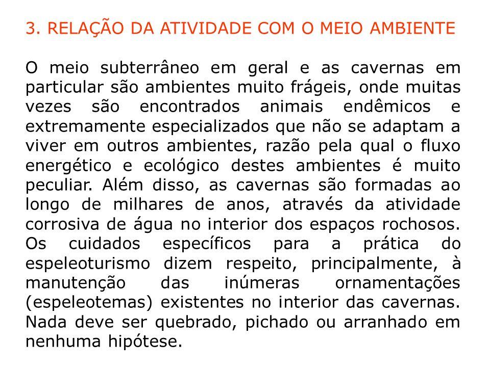 3. RELAÇÃO DA ATIVIDADE COM O MEIO AMBIENTE O meio subterrâneo em geral e as cavernas em particular são ambientes muito frágeis, onde muitas vezes são