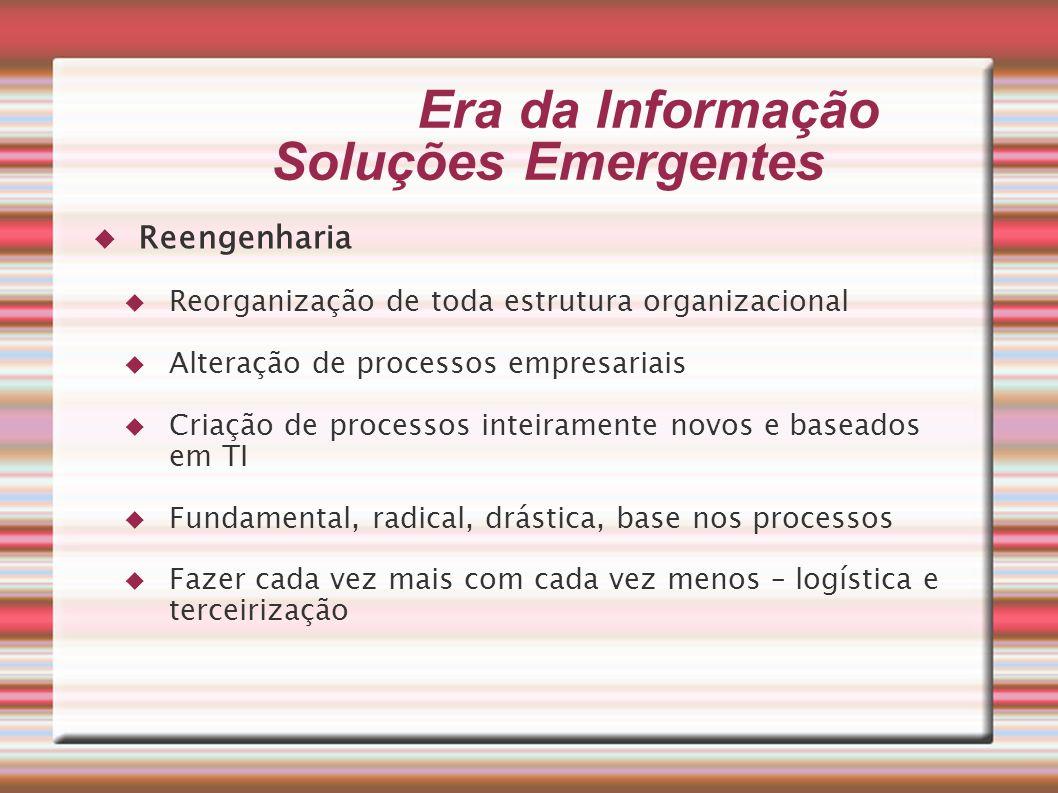 Era da Informação Soluções Emergentes Reengenharia Reorganização de toda estrutura organizacional Alteração de processos empresariais Criação de proce