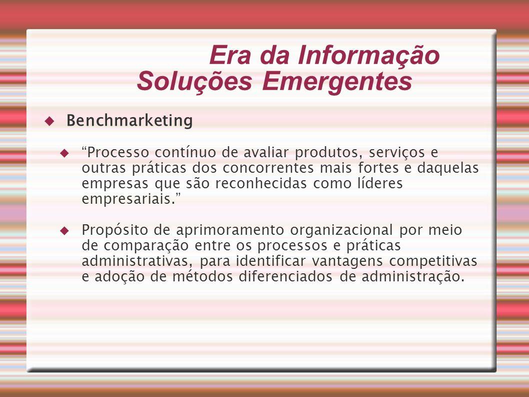 Era da Informação Soluções Emergentes Benchmarketing Processo contínuo de avaliar produtos, serviços e outras práticas dos concorrentes mais fortes e
