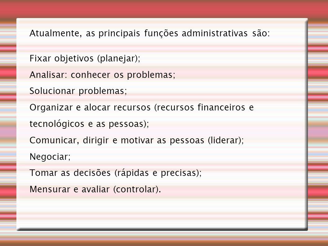 Atualmente, as principais funções administrativas são: Fixar objetivos (planejar); Analisar: conhecer os problemas; Solucionar problemas; Organizar e