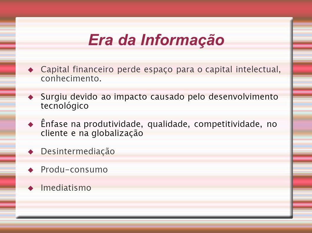 Era da Informação Capital financeiro perde espaço para o capital intelectual, conhecimento. Surgiu devido ao impacto causado pelo desenvolvimento tecn