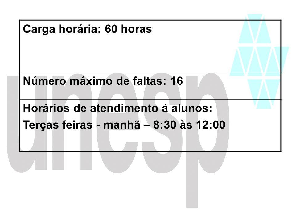 Carga horária: 60 horas Número máximo de faltas: 16 Horários de atendimento á alunos: Terças feiras - manhã – 8:30 às 12:00