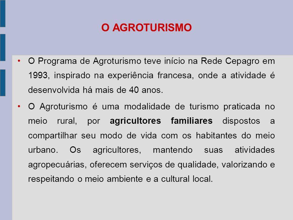 O AGROTURISMO O Programa de Agroturismo teve início na Rede Cepagro em 1993, inspirado na experiência francesa, onde a atividade é desenvolvida há mais de 40 anos.