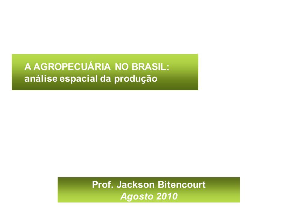 A AGROPECUÁRIA NO BRASIL: análise espacial da produção Prof. Jackson Bitencourt Agosto 2010