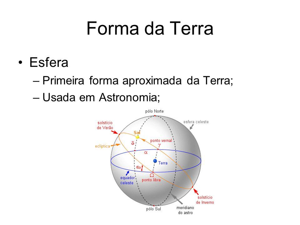 Forma da Terra Esfera –Primeira forma aproximada da Terra; –Usada em Astronomia;