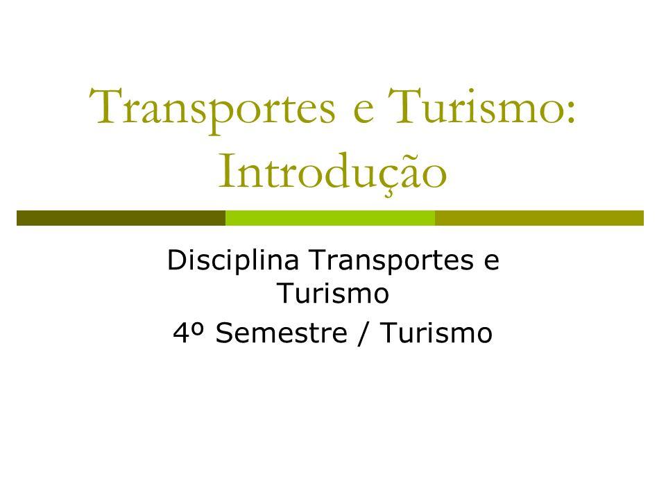 Transportes e Turismo: Introdução Disciplina Transportes e Turismo 4º Semestre / Turismo