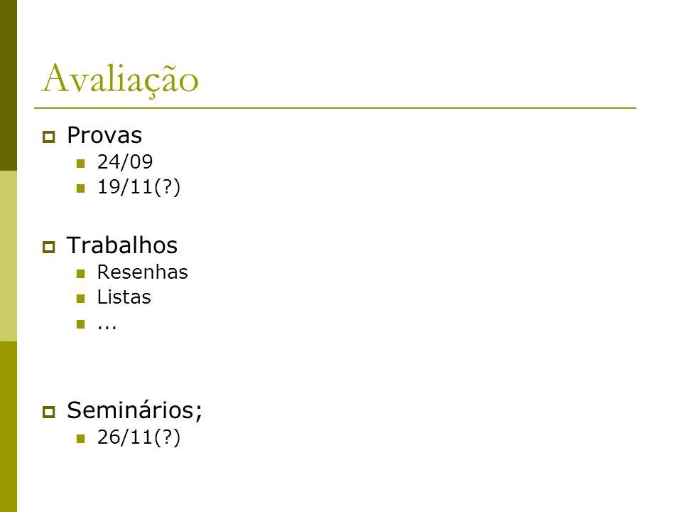 Avaliação Provas 24/09 19/11(?) Trabalhos Resenhas Listas... Seminários; 26/11(?)