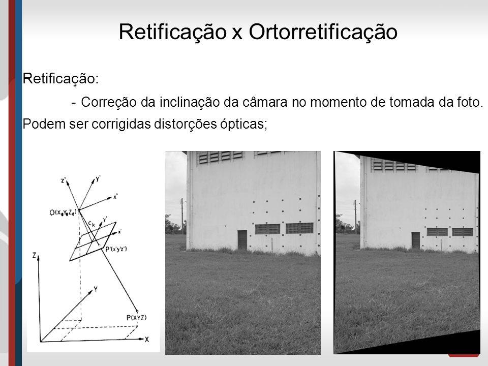 Retificação x Ortorretificação Retificação: - Correção da inclinação da câmara no momento de tomada da foto. Podem ser corrigidas distorções ópticas;