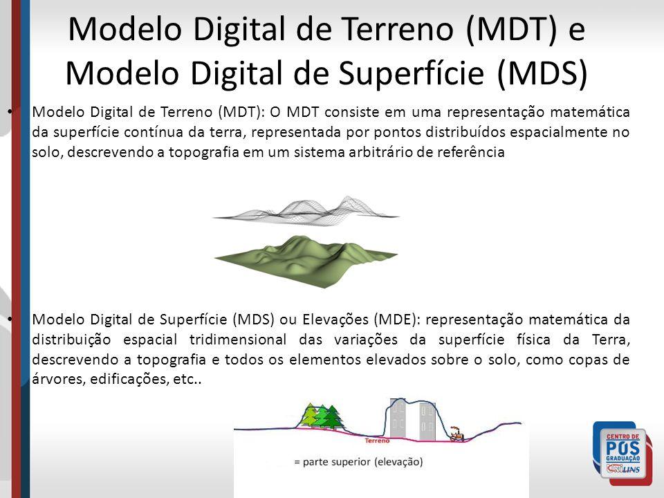 Modelo Digital de Terreno (MDT) e Modelo Digital de Superfície (MDS) Modelo Digital de Terreno (MDT): O MDT consiste em uma representação matemática d