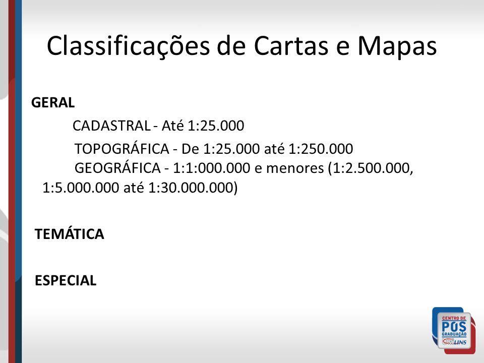 Classificações de Cartas e Mapas GERAL CADASTRAL - Até 1:25.000 TOPOGRÁFICA - De 1:25.000 até 1:250.000 GEOGRÁFICA - 1:1:000.000 e menores (1:2.500.00
