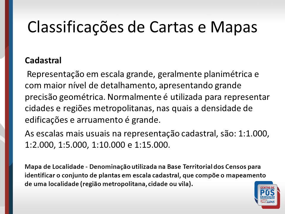 Classificações de Cartas e Mapas Cadastral Representação em escala grande, geralmente planimétrica e com maior nível de detalhamento, apresentando gra