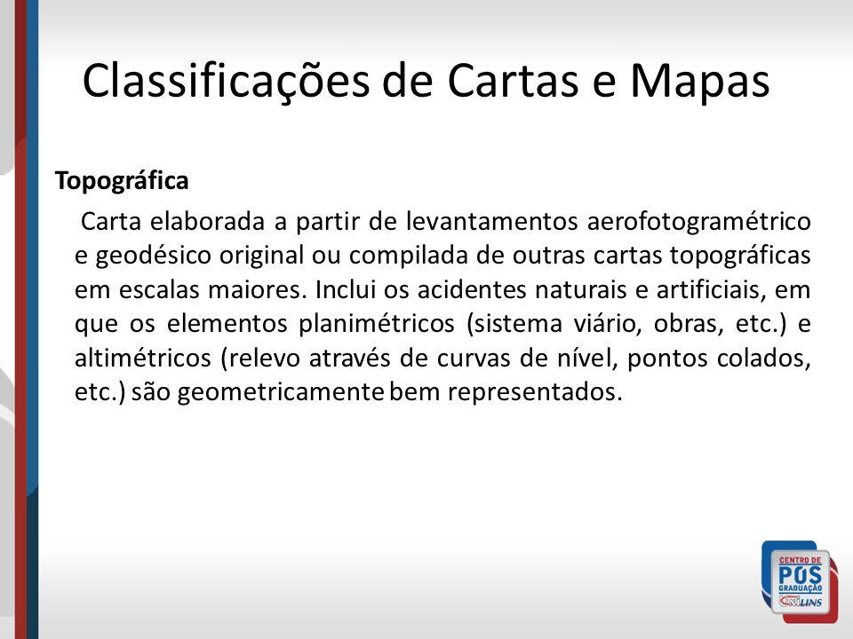 Classificações de Cartas e Mapas Topográfica Carta elaborada a partir de levantamentos aerofotogramétrico e geodésico original ou compilada de outras