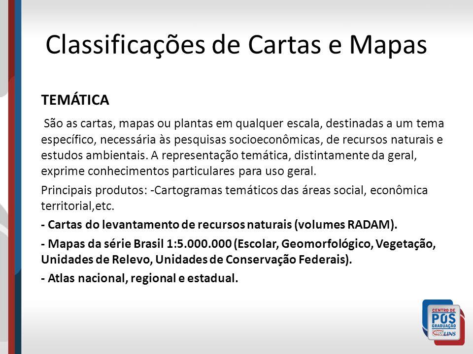 Classificações de Cartas e Mapas TEMÁTICA São as cartas, mapas ou plantas em qualquer escala, destinadas a um tema específico, necessária às pesquisas