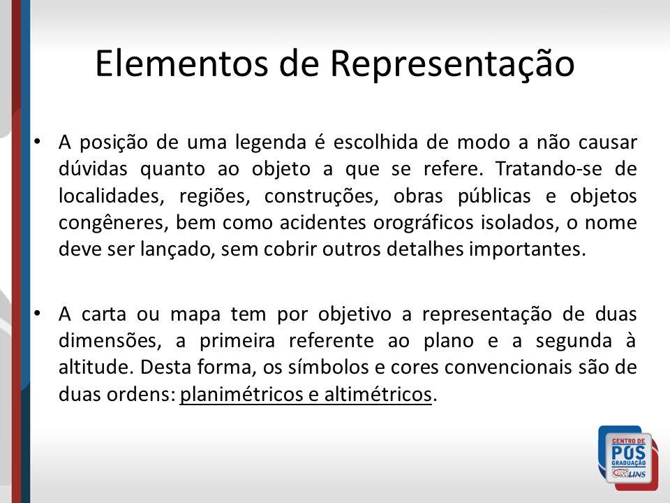 Elementos de Representação A posição de uma legenda é escolhida de modo a não causar dúvidas quanto ao objeto a que se refere. Tratando-se de localida