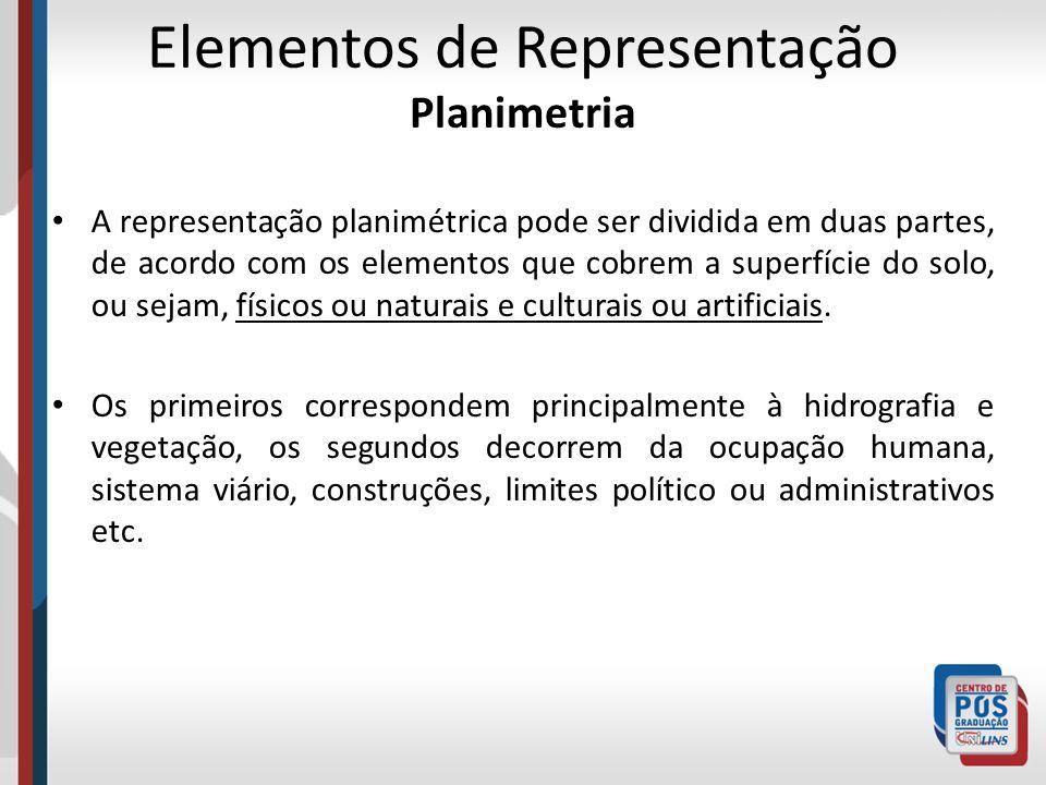 Elementos de Representação Planimetria A representação planimétrica pode ser dividida em duas partes, de acordo com os elementos que cobrem a superfíc