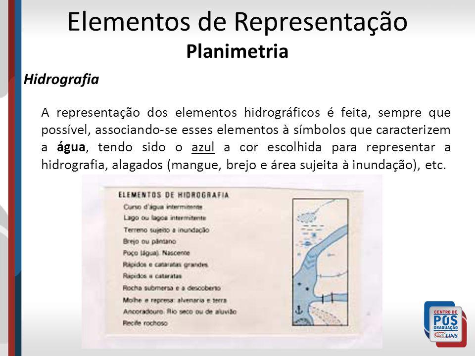 Elementos de Representação Planimetria Hidrografia A representação dos elementos hidrográficos é feita, sempre que possível, associando-se esses eleme